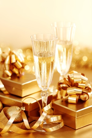 golden christmas background champagne gifts ball Stock Photo - 11211169