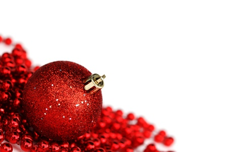 traditional celebrations: red christmas ball isolated on white background Stock Photo