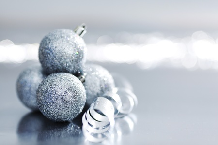 silver christmas ball macro close up photo