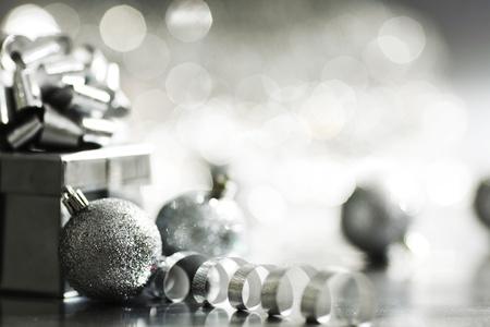 natal: silver christmas card  macro close up