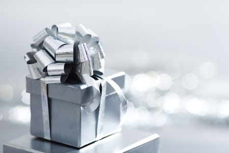 birthday gift: silver christmas gift macro close up