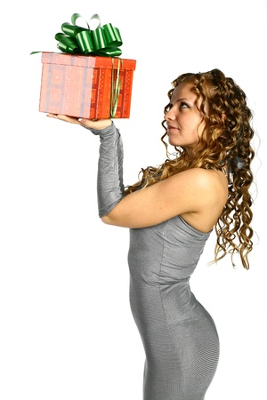 The girl with a gift in cheerfully box smiles new year Stock Photo - 11245829