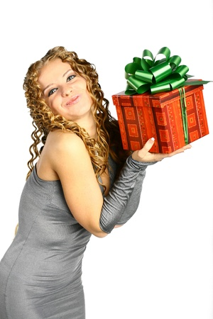 The girl with a gift in cheerfully box smiles new year Stock Photo - 11245838