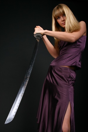 ninja girl try to stop aggression conflict enemy photo