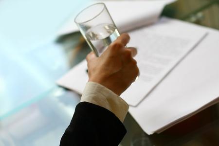 hand water: glass of water Stock Photo