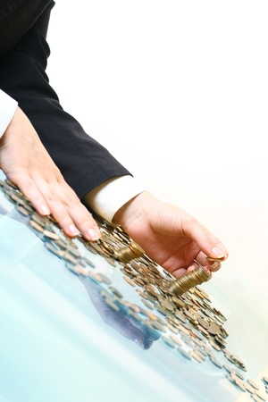 hand make coins piles on white Stock Photo - 11262806