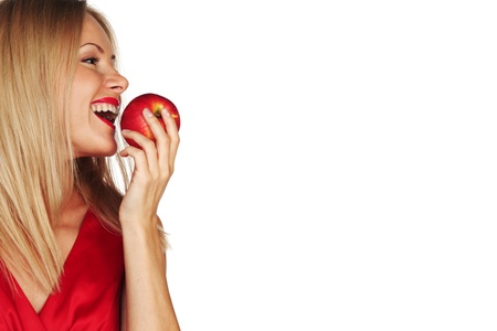 woman eat red apple on white background photo