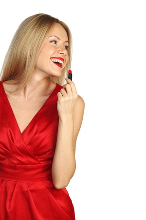 woman red lipstick isolated on white Stock Photo - 11278673