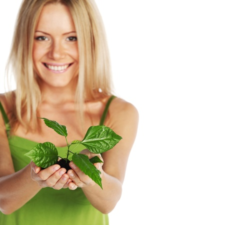 plant in blonde hands close up Stock Photo - 11278631