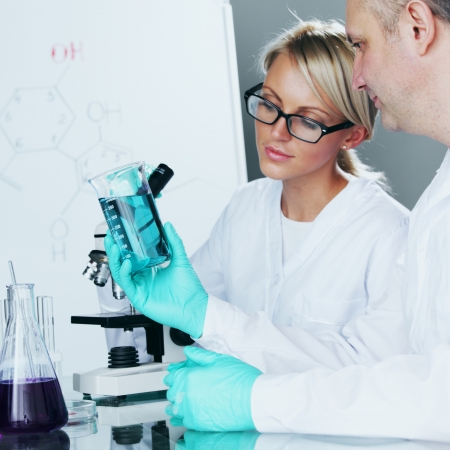 biochemist: Chemistry Scientist conducting experiments in laboratory