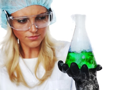 white glove test: Woman  conducting a chemical experiment