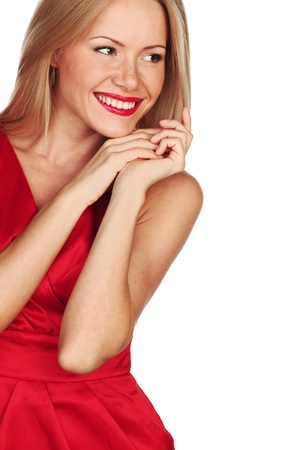 woman in red isolated on white Stock Photo - 11278668