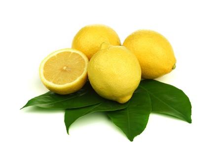 limonada: limones pila aislado en blanco Foto de archivo