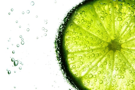 lime slice: lime slice in water bubbles