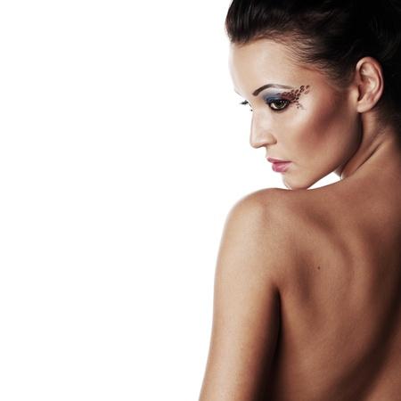 woman in studio close portrait on white Stock Photo - 11367894