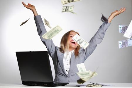 loteria: de negocios dólares mujer caída en el aire