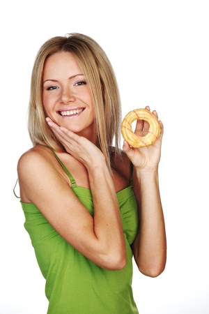 woman eating a cake on a white background photo
