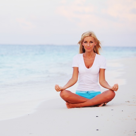 yoga beach: yoga woman on sea coast