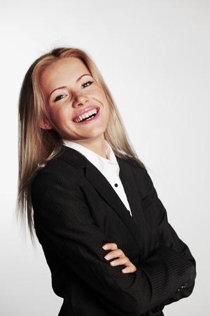 bussines: zakenvrouw op een grijze achtergrond