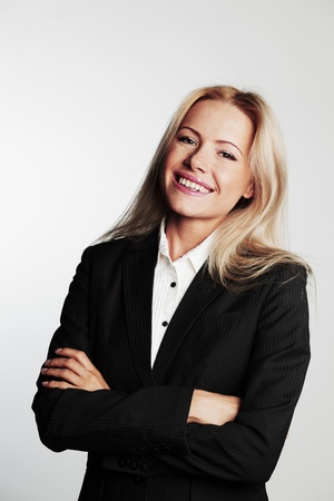 business woman on a gray background photo