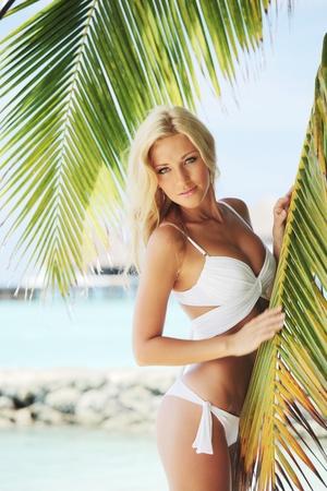 summer holiday bikini: woman in bikini under palm on sea background Stock Photo