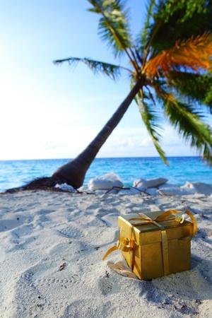 golden gift on ocean beach under palm photo