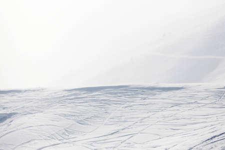 ski traces: ski traces on snow Stock Photo
