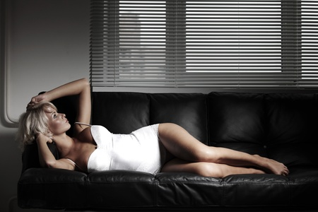 sexy woman on leather sofa Stock Photo - 12508551