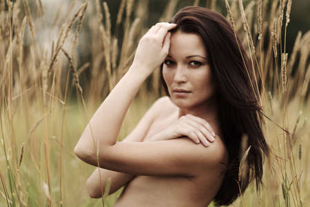 nude woman in the rye Stock Photo - 12508555
