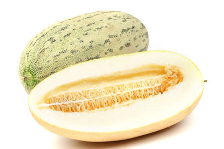 entire: torped melon isolated on white Stock Photo