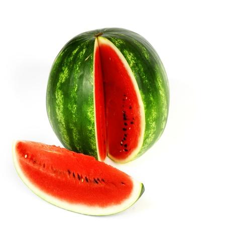 watermelon slice isolated on white photo