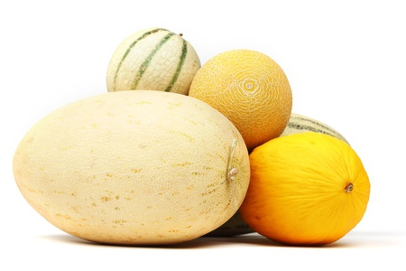 different melon isolated on white Stock Photo