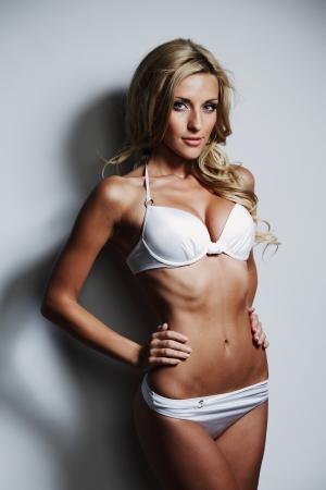 naked girl body: underwear woman in studio Stock Photo