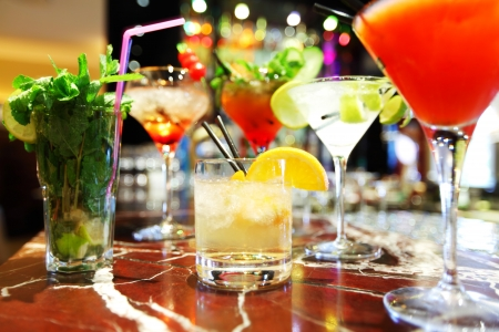 Colorful cocktails close up photo