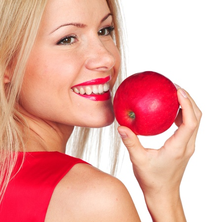 woman eat: woman eat red apple on white