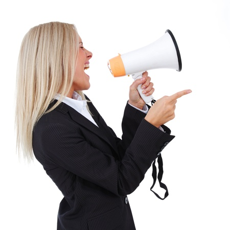 business woman with megaphone isolated white background photo