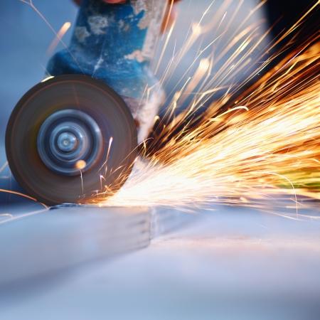 metal sawing close up photo