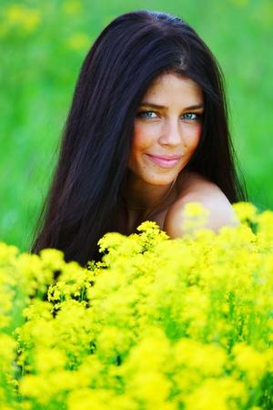oilseed: woman on oilseed field Stock Photo