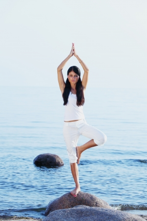 Silhouette of woman in yoga lotus meditation position front to seaside Stock Photo - 13759936