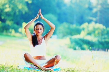 Young woman doing yoga exercise in green park Stock Photo - 14017715