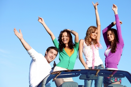 people group  fun  in cabriolet photo