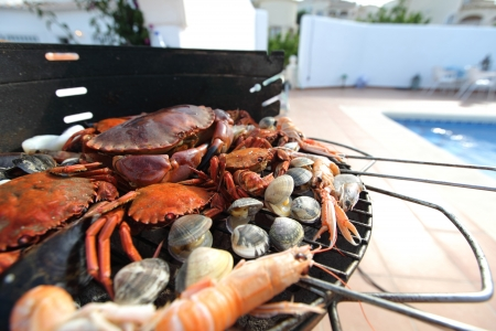 crab meat: crabs shrimps on charcoal grill