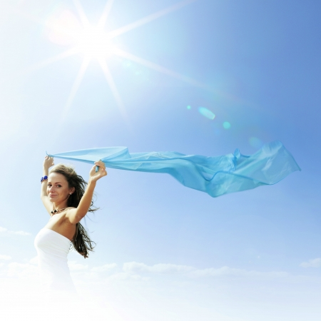 fly girl in the sky freedom concept Stock Photo - 14824817