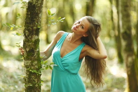 woman in summer forest Stock Photo - 14995186