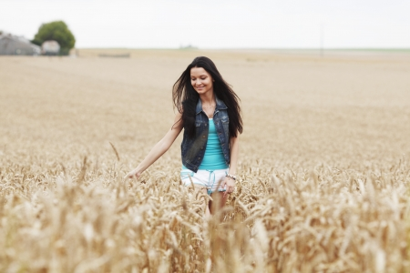 woman on wheat field photo