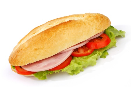 Closeup of sandwich with ham and fresh vegetables Stock Photo - 15241566