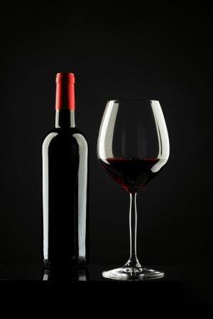 degustation: Red Wine Glass silhouette Black Background Stock Photo