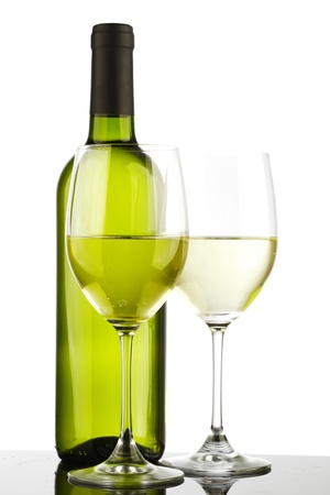 white wine bottle: bottle with white wine and glass Stock Photo