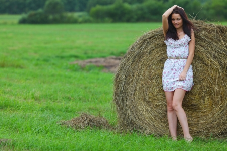 nude outdoors: nude woman in the rye Stock Photo