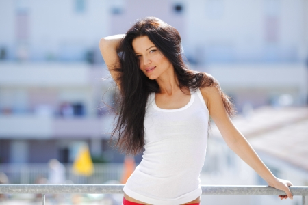 attractive gorgeous: Pretty woman in shirt